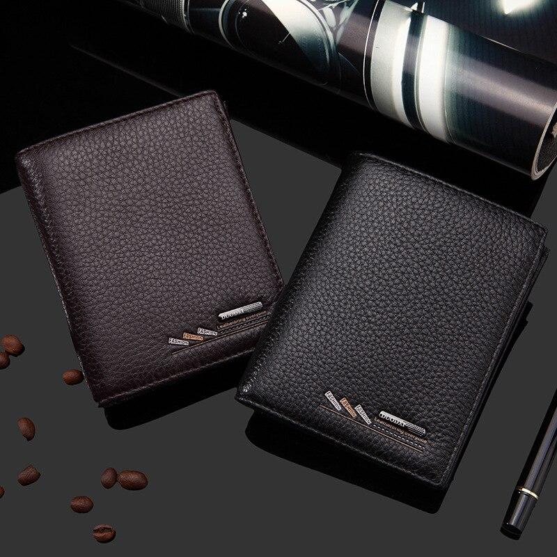 Ausuky Genuine Cowhide Leather Men Wallet Short Vertical litchi pattern Coin Purse Vintage Wallet Brand High Quality Designer 40