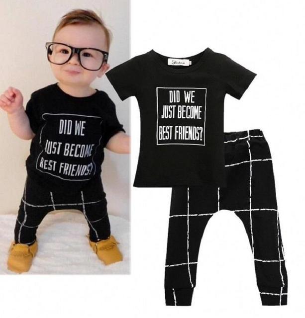 2eeba258eec4 Black Baby Clothing Set 2018 Summer Autumn New Baby Boys Clothes T-Shirt  Pants 2pcs Newborn Baby Girls Clothes Infant Outfits