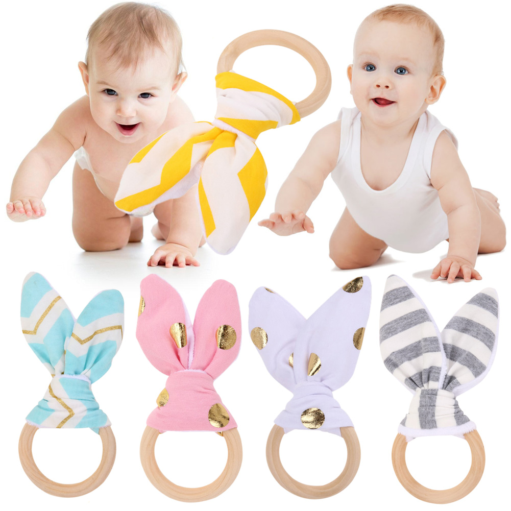 1 Pc Baby Toy Soft Little Rabbit Ears Wooden Hand Grasp Toy Rattles Develop Baby Intelligence Baby Grasping Toy Hand Bell Rattle