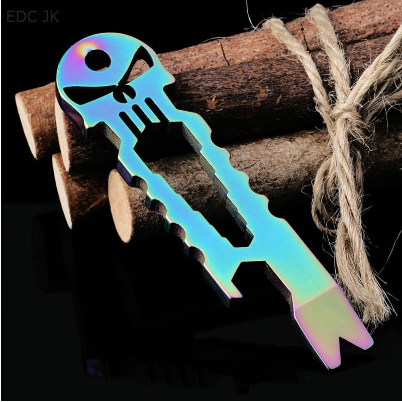 Amazing Outdoor Stainless Skull EDC Survival Pocket Tool Key Ring Chain Pry Bar Bottle Opener Mini Multi-functional Screwdriver
