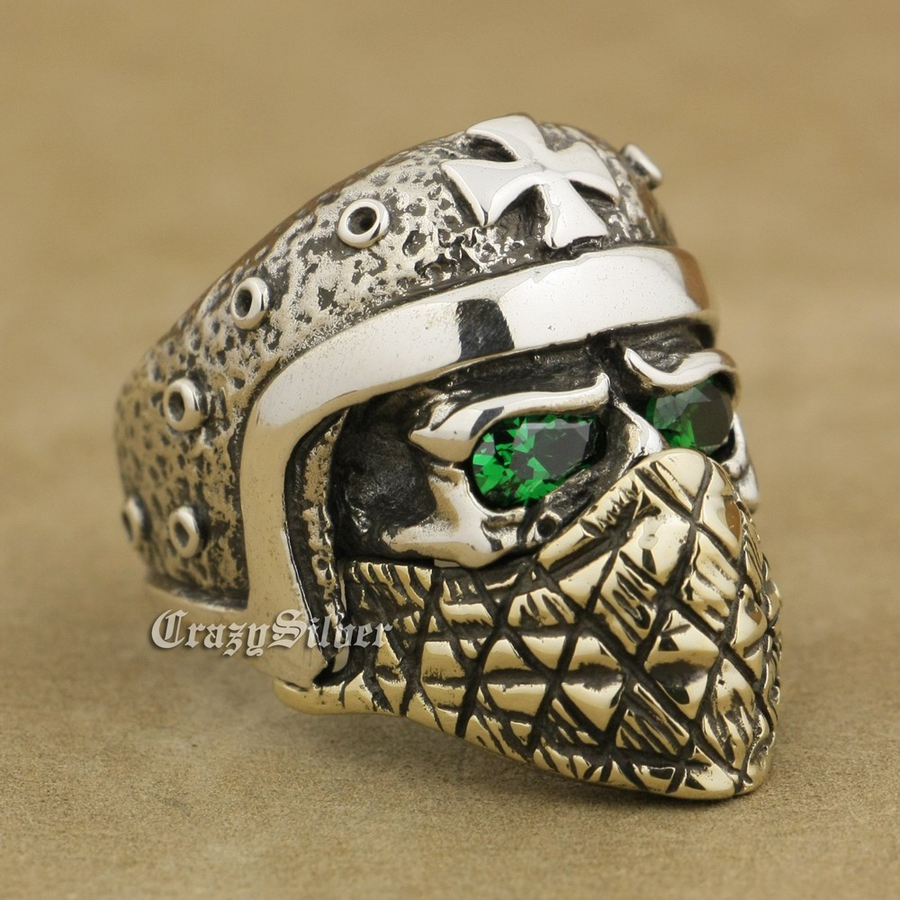 925 Sterling Silver Motorcycle Helmet Skull Ring Green CZ Eyes Brass Mask TA25A 925 Sterling Silver Motorcycle Helmet Skull Ring Green CZ Eyes Brass Mask TA25A