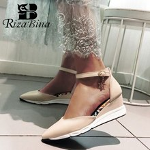 RizaBina Office Lady Wedges Sandals Ankle Strap Pointed Tie Solid Color Summer Vacation Women Shoes Size 33-40