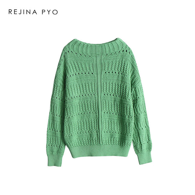6f69a709547fd3 REJINAPYO Women Fashion All-match Solid Crochet Oversize Knitted Sweater  O-neck Female Casual Everyday Loose Pullovers