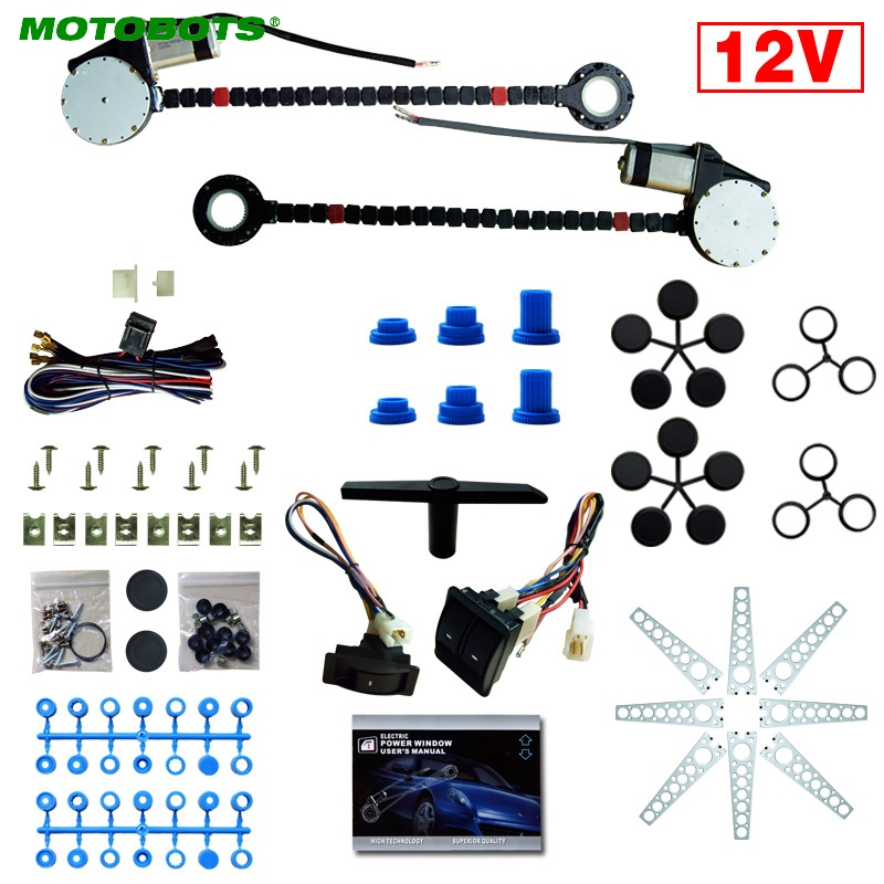 MOTOBOTS 1Set DC12V Auto Universal 2-Doors Electric Power Window Kits With 3pcs/Set Switches And Harness #AM4420
