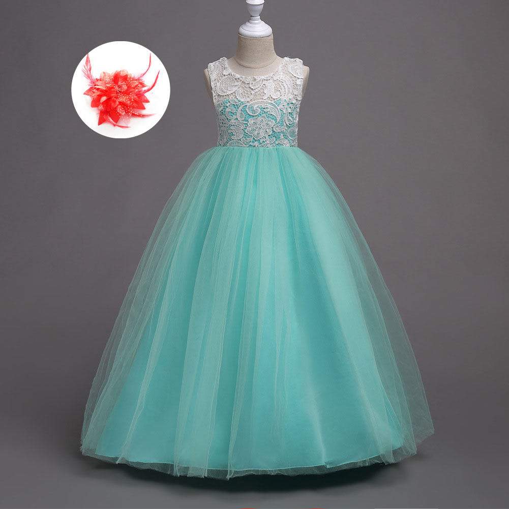 Children Long Dresses Evening Party Clothes 5 To14 Years Old Wedding ...