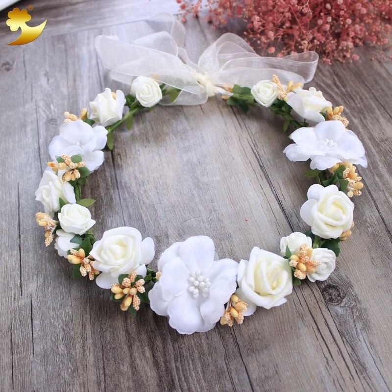 XinYun Ladies Kids Adjustable Flower Crown Beach Wedding Flower Headbands Flower Wreath Hairband Women Garland for Halo Headwear gothic flower crown garland for women