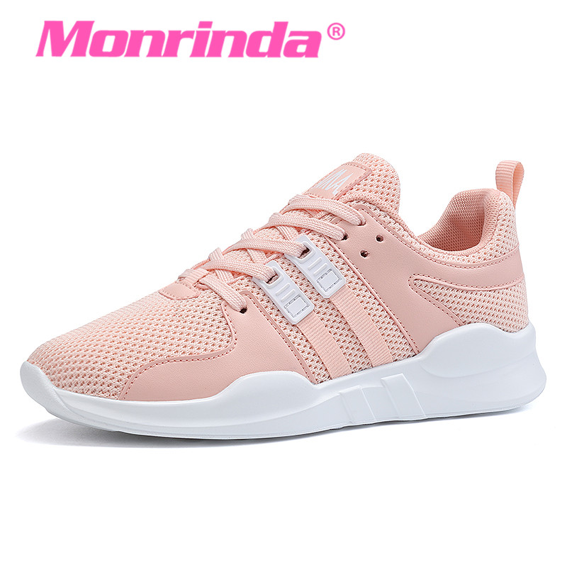 Monrinda Women Running Shoes Breathable Mesh Men Sneakers Black Light Sport Shoes Leather Woman Pink Outdoor Walking Shoes A39 hot new 2016 fashion high heeled women casual shoes breathable air mesh outdoor walking sport woman shoes zapatillas mujer 35 40