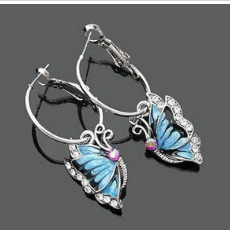 Korean Jewelry Fashion Exquisite Earrings Korean Storm Blue Butterfly Earri..