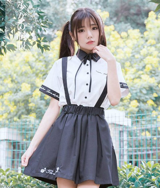 Cute girls rose embroidery white short sleeve blouse shirt