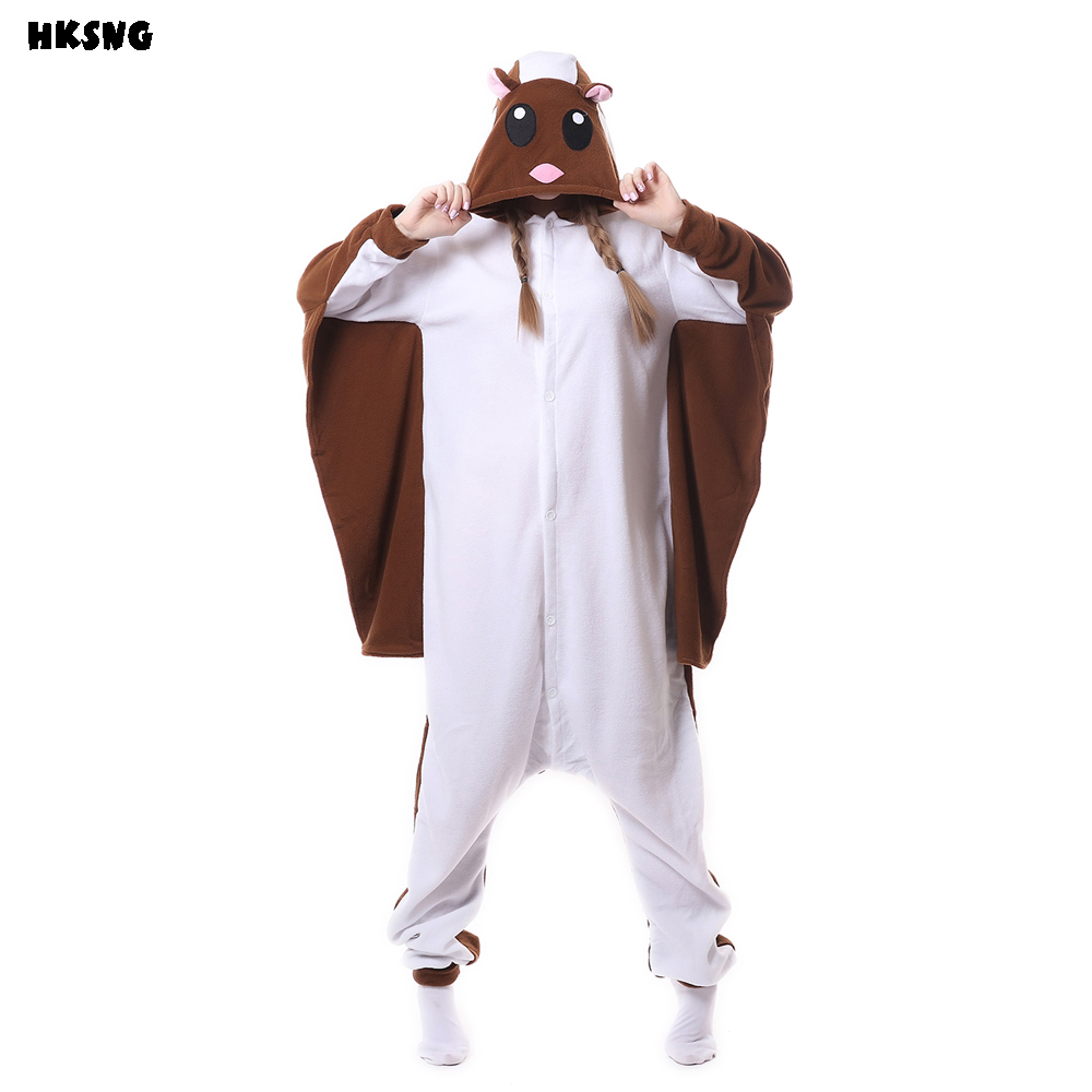 HKSNG Cheap DHL Fleece Flying Squirr Kigurumi Flier Mouse Onesies Animal Footed Pajamas Adult Unisex Cosplay Costumes Sleepwear