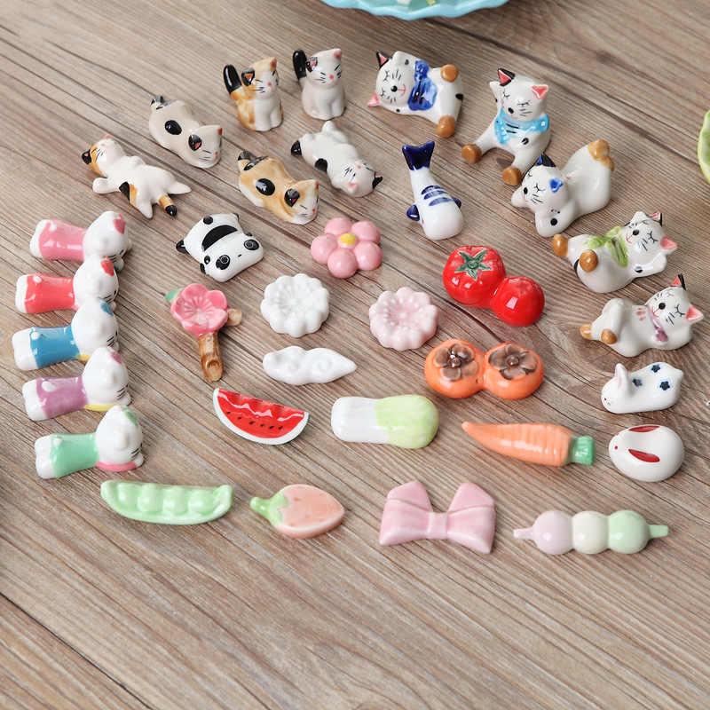 Kreatif Kartun Hewan Lucu Kelinci Ikan Kucing Halo Kucing Buah Keramik Peralatan Makan Sumpit Rak Rumah Hotel Dekorasi Meja GL