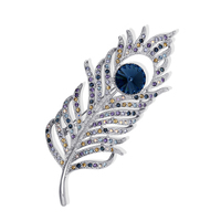 AAAAA Class Element crystal brooch female brooch feather brooch pin clasp gift