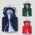 3 cores crianças colete meninos meninas com capuz de algodão acolchoado coletes zipper colete quente para as crianças antumn inverno crianças Outwear
