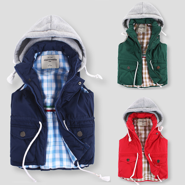 3colours children vest  Boys Girls Hooded Cotton Padded Waistcoats zipper warm vest for kids antumn winter Children Outwear