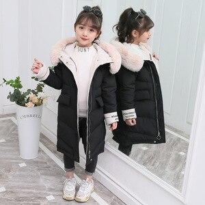Image 4 - 2020 Fashion Kinderen Winter Beneden Katoenen Jas Meisje Kleding Kinderkleding Warme Dikke Parka Bontkraag Capuchon Lange Jassen 3 14Y