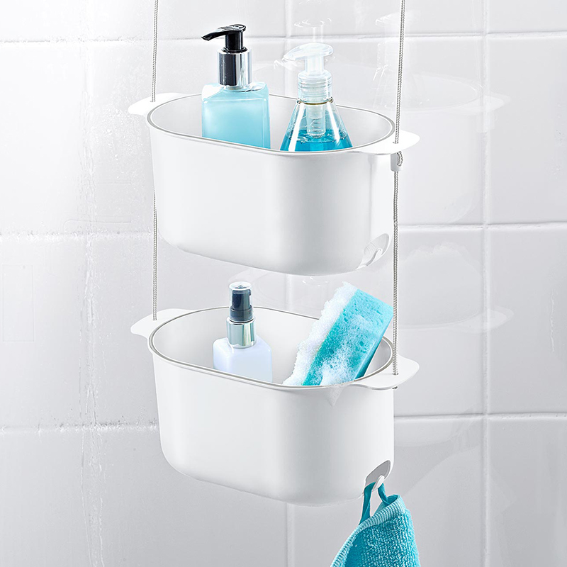 Two Layer Hanging Shower Bath Basket Simple Washing Shower Basket ...