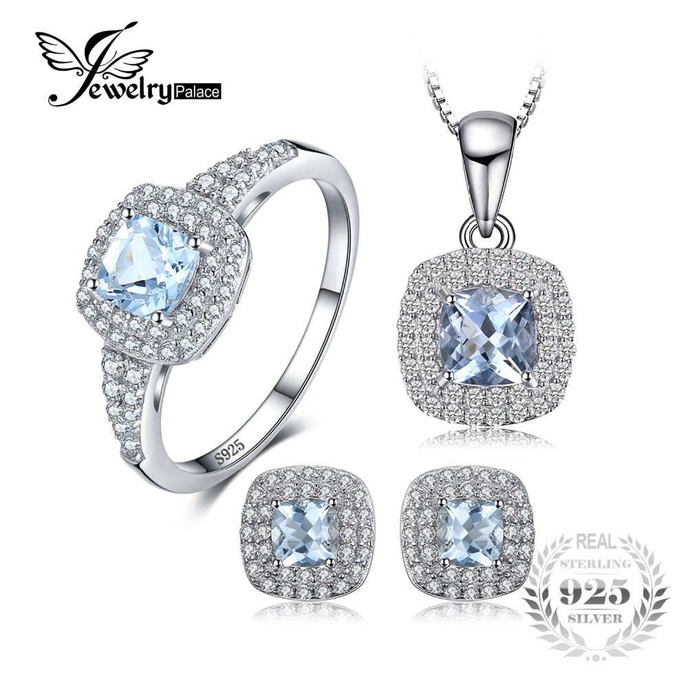 JewelryPalace Cushion 2.6ct Natural Aquamarine Halo Ring Stud Earrings Pendant Necklace Jewelry Sets 925 Sterling Silver 45cm