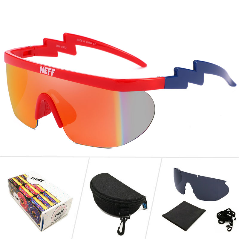 0e71bd9d3ca WESHION Neff Sunglasses Men Women Vintage Sport Oversized Goggles Clip On  Shades UV40 Protection Sun Glasses