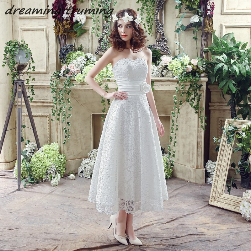 Beach Summer Tea Length Wedding Dress 2018 A Line Sweetheart Lace Appliques Vintage Bridal Gowns vestido de noiva