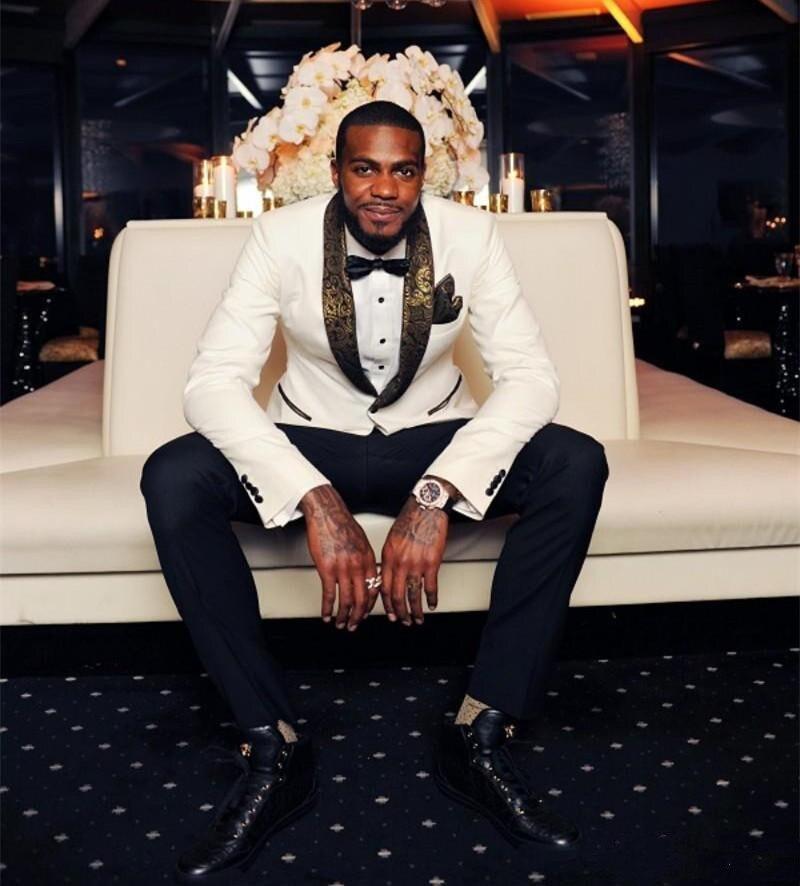 Latest Design Ivory Groom Tuxedos Groomsmen Custom Made Shawl Collar Mens Wedding Suits Bridegroom (Jacket+Pants+Bow Tie) Terno