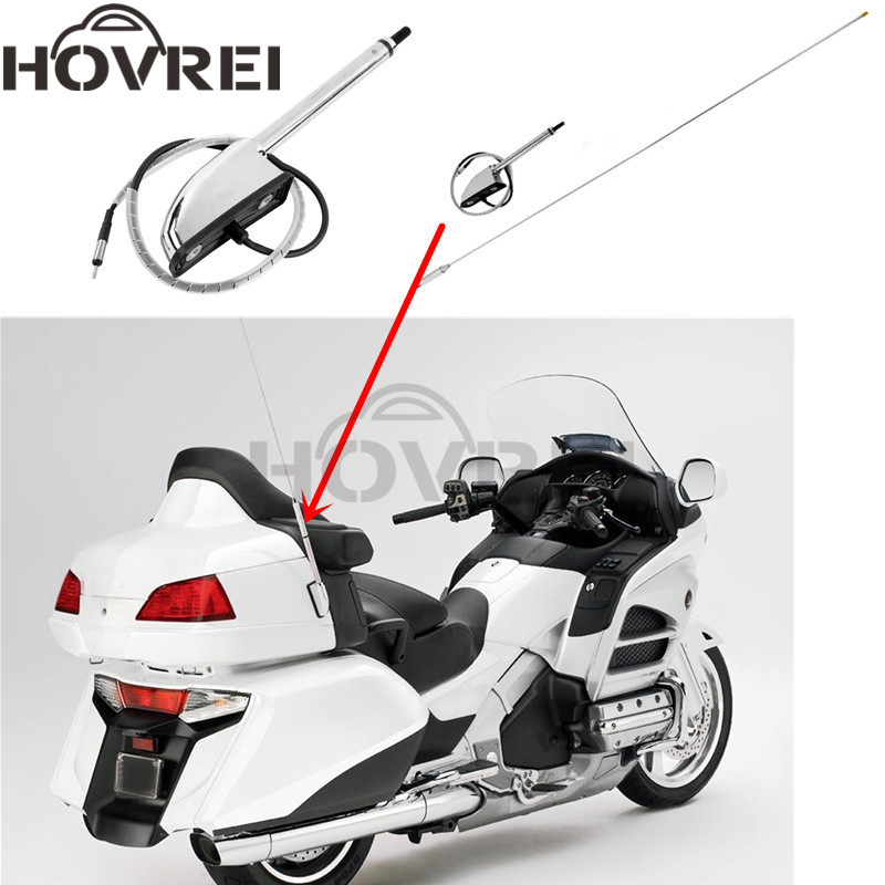 Motorcycle Chrome Antenna For Honda GL1800 2001 2014 Motorcycle Antenna Kit Audio Navi Comfort GL 1800