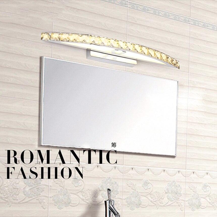 2016 Bathroom LED Mirror Light Mini Style modern Wall Lamp lampada de Lighting fixtures, Warm white 10W 44cm Transparent crystal modern led bathroom light stainless steel led mirror lamp dresser cabinet waterproof sconce indoor home wall lighting fixtures