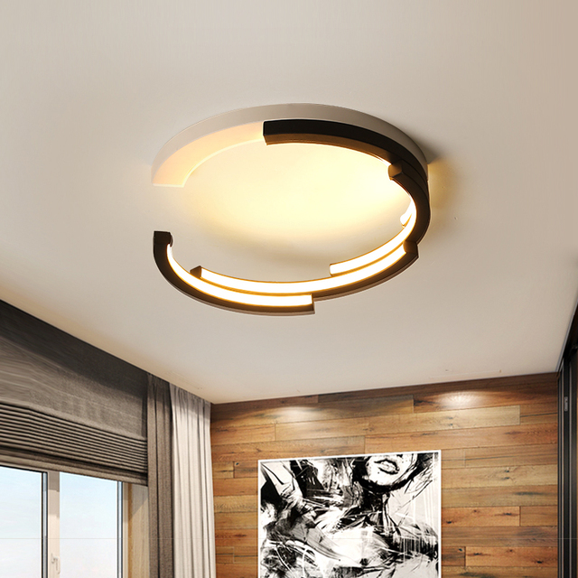 Creative Deco Modern LED Ceiling Lights Living Room Bedroom Study White And Black Ceiling Lamp Plafonnier LED lamparas de techo