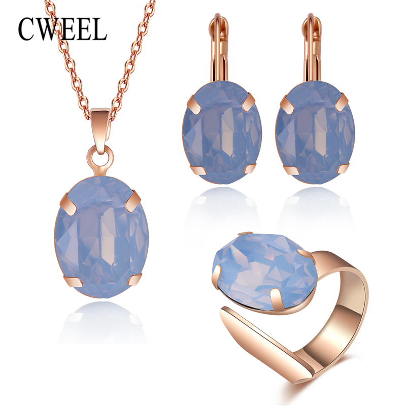 Dazzling Trend Rose Gold 4pcs/ Set Trend Jewelry Necklace Earrings Ring Wedding Women Fashion Jewellery Set 100% Original Bridal Jewelry Sets Wedding & Engagement Jewelry