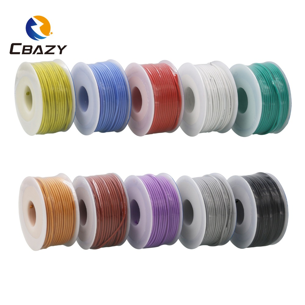 CBAZY silicone 24AWG 30M flexible silicone wire and cable tinned copper wire stranded wire 10 color optional DIY wire connection