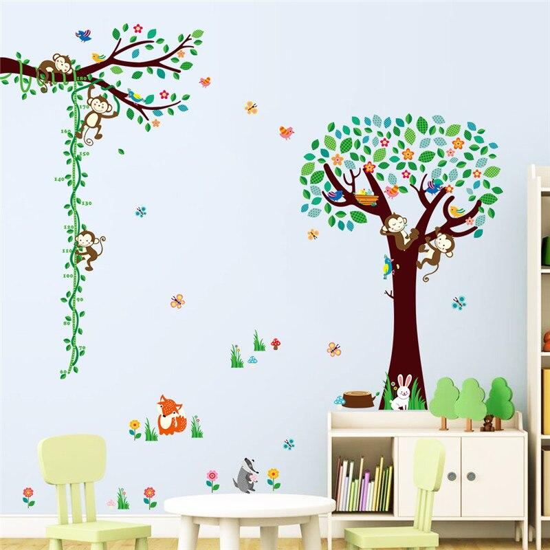 Animals zoo cartoon tree monkey monkey diy home decor for Diy tree mural nursery