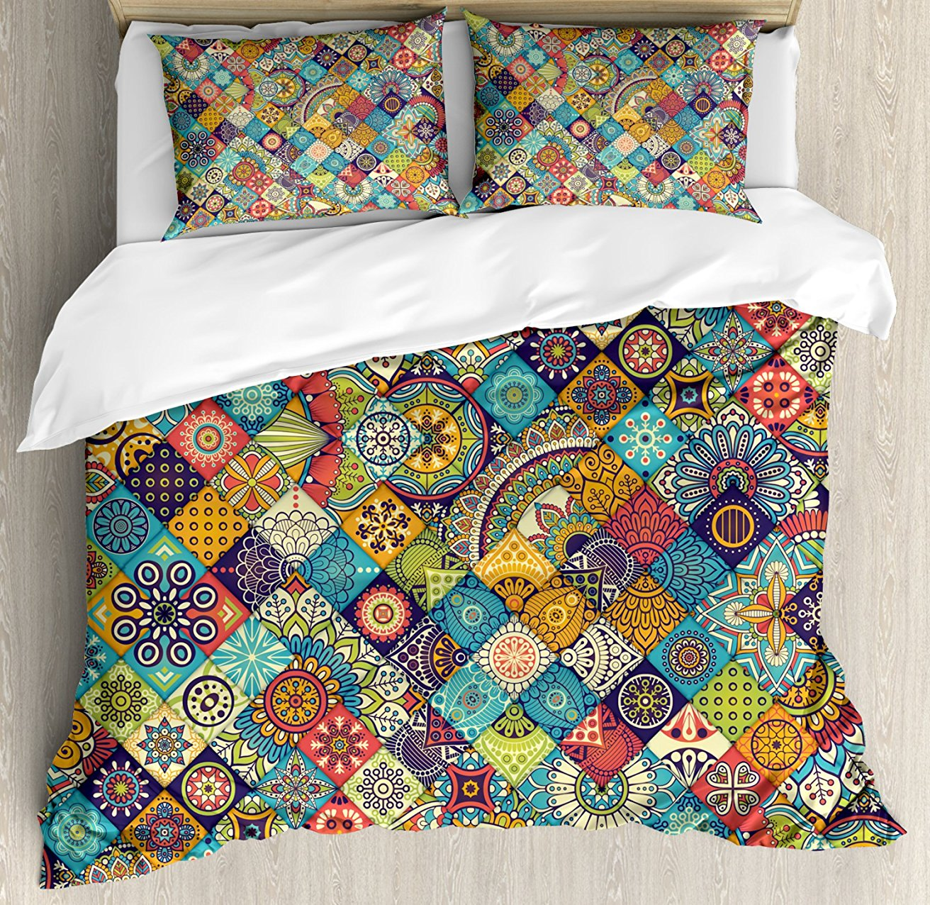 Bohemian Duvet Cover Set  Checkered Pattern With Ethnic Ornamental Floral Figures Ethnic Folk Art Abstract  4 Piece Bedding Set