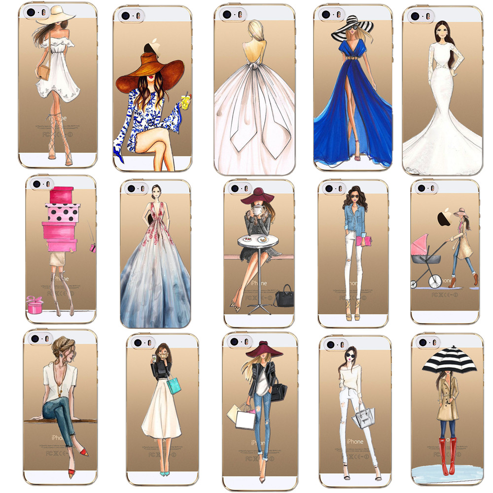 Fashion Girls Cover For Apple Iphone 7 7Plus 6 6S 5 5S SE 4 4S Cases Slim Soft Back Skin Covers TPU Cases For Apple Iphone