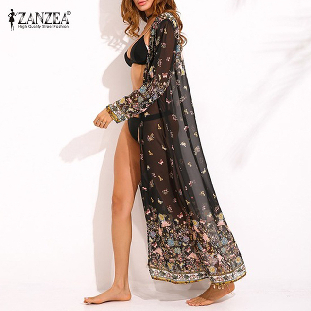 76995bc003 ZANZEA Womens Chiffon Long Sleeve Floral Print Kimono Boho Ladies Summer Beach  Cover Ups Maxi Long