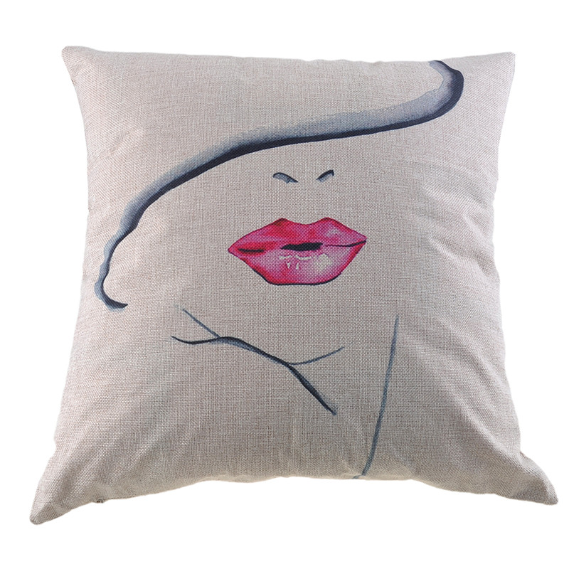 45x45cm Fashion Girl Series Linen Cotton Cushion Cover Decorative Throw Pillow Case Seat Chair Car Sofa Decoration Home Decor