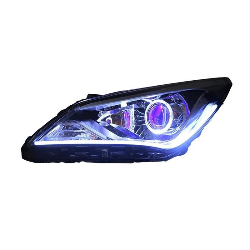Cob Luces Automovil боковой сигнал поворота Neblineros Para Авто ходовые светодиодные фары автомобиля фары в сборе для hyundai Verna