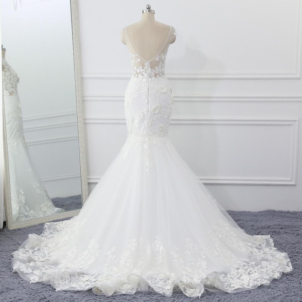 Lover Kiss Wedding Dress 2017 Vintage Mermaid Lace Appliques Bead Robe de Mariage Sexy Back Bride Dresses Vestido de Noiva 2