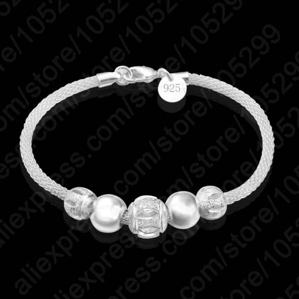 High Quality Europe Brand 925 Sterling Silver Charm Bead Bracelet/Bangles Women Jewelry Free Shipping