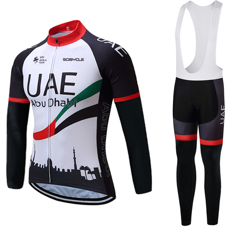 Winter 2018 Tour UAE Cycling team JERSEY Bike Pants set mens Ropa Ciclismo Thermal fleece Bicycle clothing Long Cycling wear men thermal long sleeve cycling sets cycling jackets outdoor warm sport bicycle bike jersey clothes ropa ciclismo 4 size