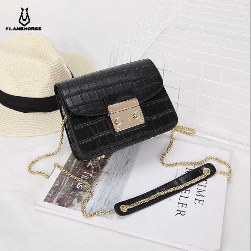 De las señoras de moda de cocodrilo bolso de Diseñador de Bolsos de las mujeres bolsos 2018 negro blanco pequeño embrague cadena de oro las niñas bandolera bolsas