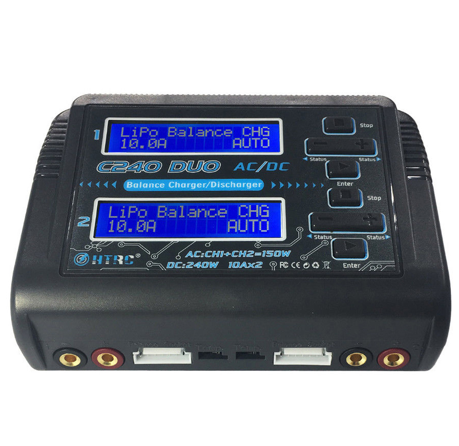 HTRC C240 DUO AC 150W DC 240W Dual Channel 10A RC Balance lipo battery Charger skyrc d100 2 100w ac dc dual balance charger 10a charge 5a discharge nimh lipo battery charger twin channel charge