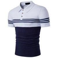 Summer Men T-Shirt Slim Fit Sọc Casual T Shirt Mens Quần Áo rẽ Xuống Cổ Áo Chắp Vá Màu Short Sleeve Tee Shirt Homme S