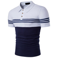 Yaz Erkek T-Shirt Slim Fit Çizgili Günlük T-shirt Erkek Giysileri Turn Down Yaka Patchwork Renk Kısa Kollu Tee Gömlek Homme S