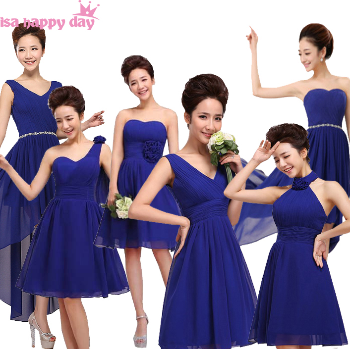 Royal Blue Lace Up Short Length Chiffon Bridesmaid Dresses Brides Maid Dress For Girls 2019 Wedding Guest Different Styles