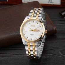 2016 Badace marca relógios das mulheres dos homens moda casual relógio de aço completa assista data negócios casal amante relógios à prova d' água