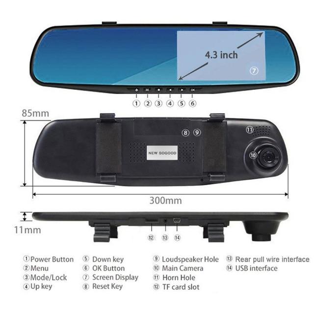 Cámara de salpicadero 1080P 4,3 pulgadas espejo de cámara de coche 170 HD cámara grabadora de conducción visión nocturna Auto DVR Camem grabadora de cámara de vehículo