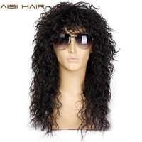 AISI HAAR Lange Natürliche Schwarze Lockige perücken Mit Bang 20 Zoll Synthetische Perücken für Schwarz Mann/Frauen Hitze Beständig