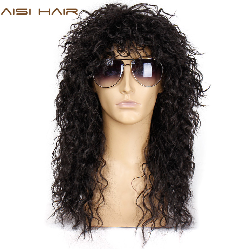 AISI HAIR Long Natural Black Curly wigs With Bang 20 Inches Synthetic Wigs  for Black Man/Women Heat ResistantSynthetic None-Lace  Wigs   -