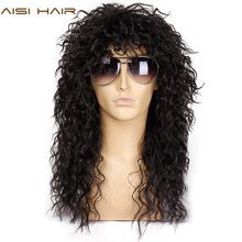 Aisi hair long natural black curly wigs with bang 20 inches 흑인 남성/여성용 합성 가발 내열성