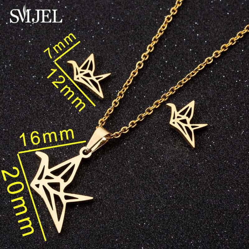 Smjel Mode Edelstahl Halsketten für Frauen Niedlichen Kaninchen Schmetterling Mickey Tier Halskette Ohrringe Schmuck Zubehör