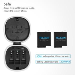 Image 5 - TELESIN ALLIN กล่อง 3 ช่องแบตเตอรี่ชาร์จกล่องเก็บ TF Card Reader กรณีสำหรับ GoPro HERO 5/6/7 2018 อุปกรณ์เสริมสีดำ
